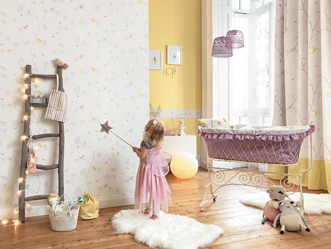 Papel pintado infantil pajaritos