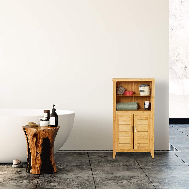 Armario baño de bambú con puertas