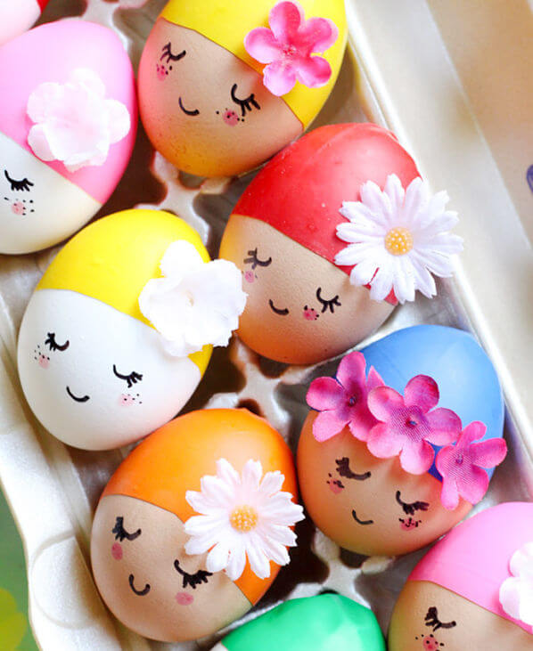 Huevos Pascua con flores