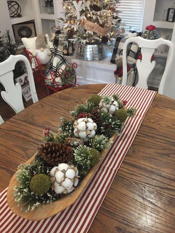 Centro de mesa Navidad con adornos