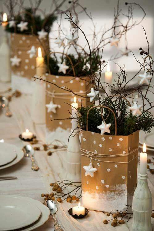 Centro de mesa Navidad con bolsas navideñas