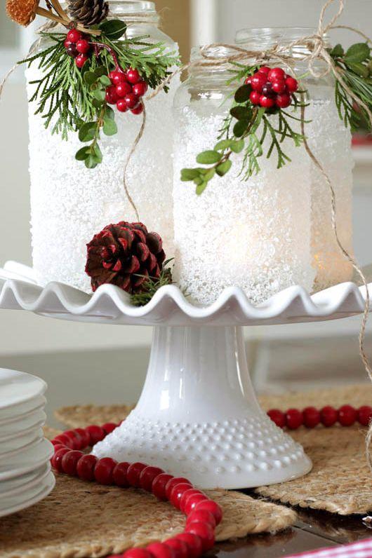 Centro de mesa Navidad con frascos decorados con sal de Epsom