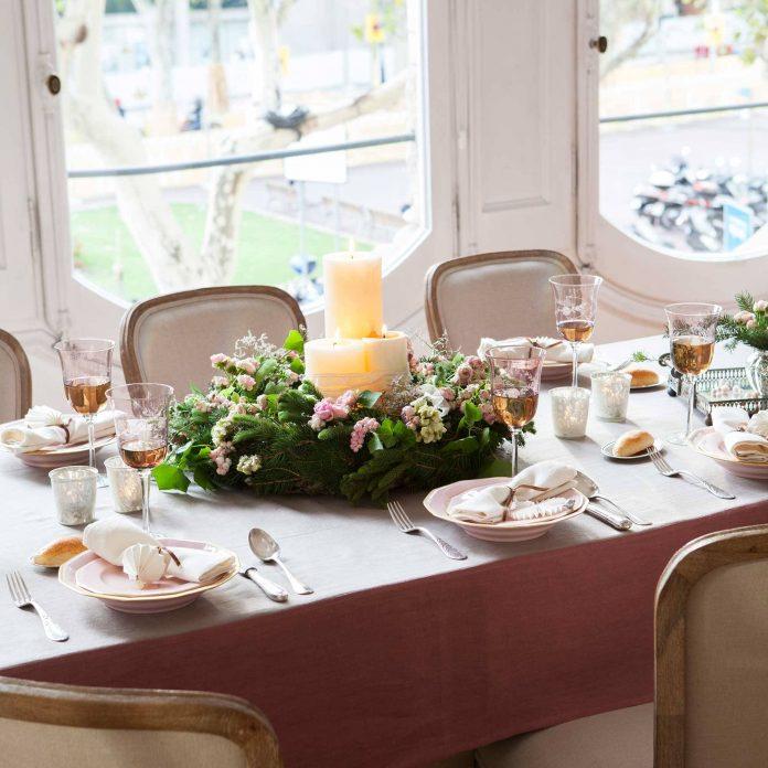 Centro de mesa Navidad romántico