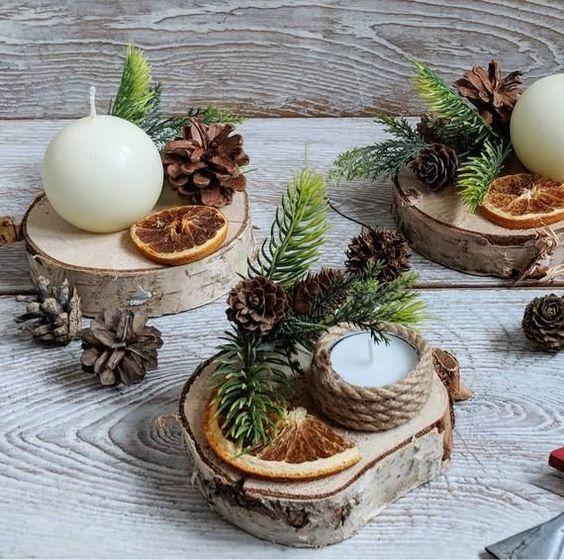Centro de mesa Navidad con troncos de madera