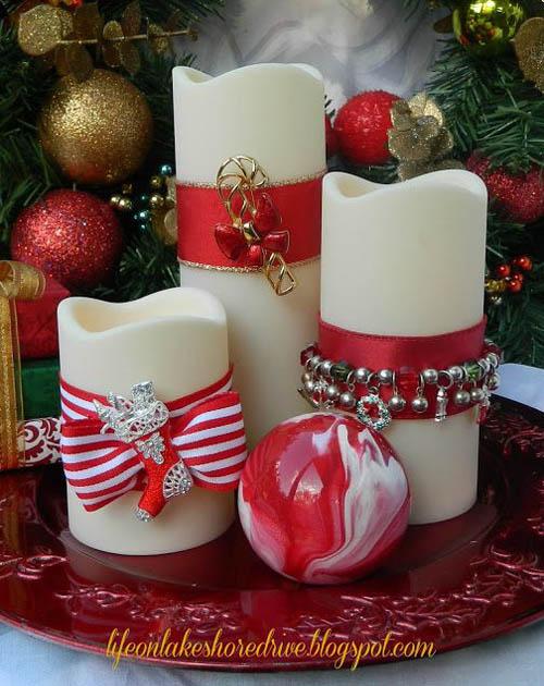 Velas de Navidad con cintas