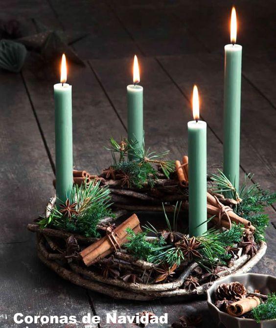 Corona de adviento con velas verdes