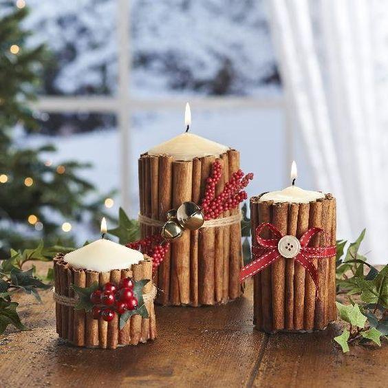 Manualidades Navidad con velas