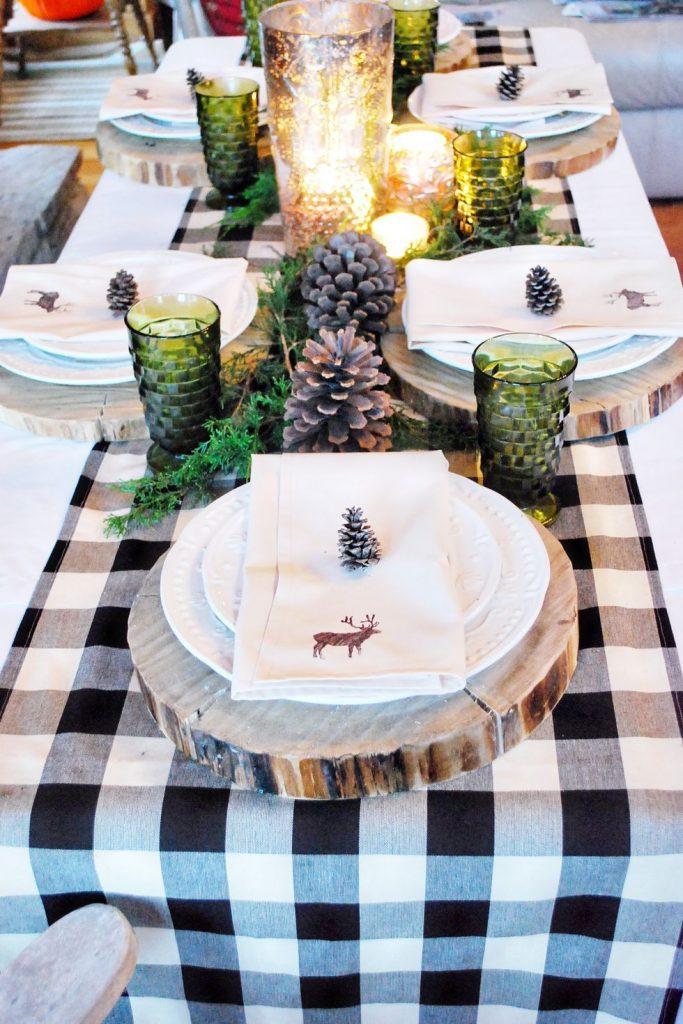 Mesa de Navidad con toques de madera