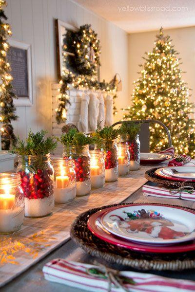 Mesa Navidad con frascos de cristal
