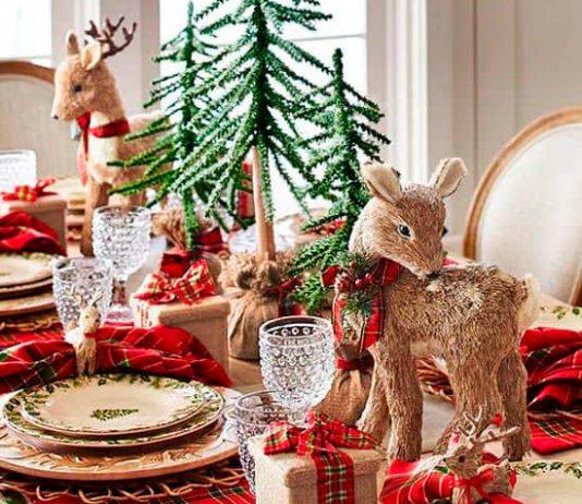 Mesa Navidad roja con animales