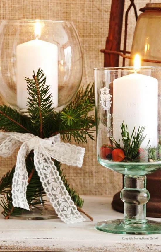 Velas de Navidad en frascos de vidrio