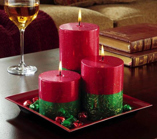 Velas de Navidad decoradas rojo y verde