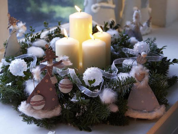 Velas navideñas con ángeles