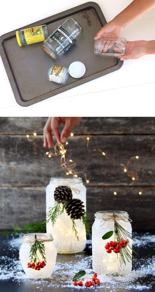 Manualidades Navidad - Tarros de cristal con nieve