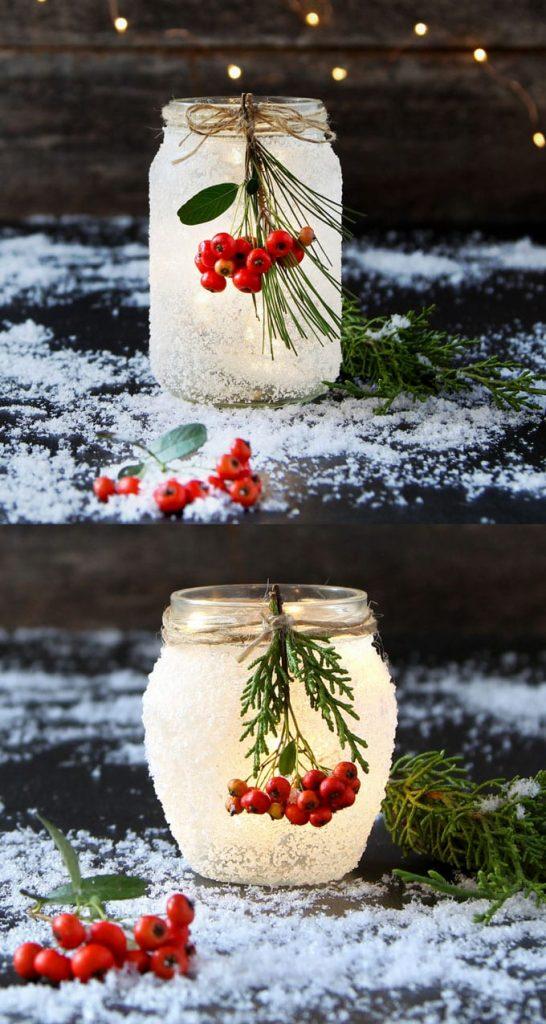 Manualidades Navidad: Tarros de cristal con nieve artificial