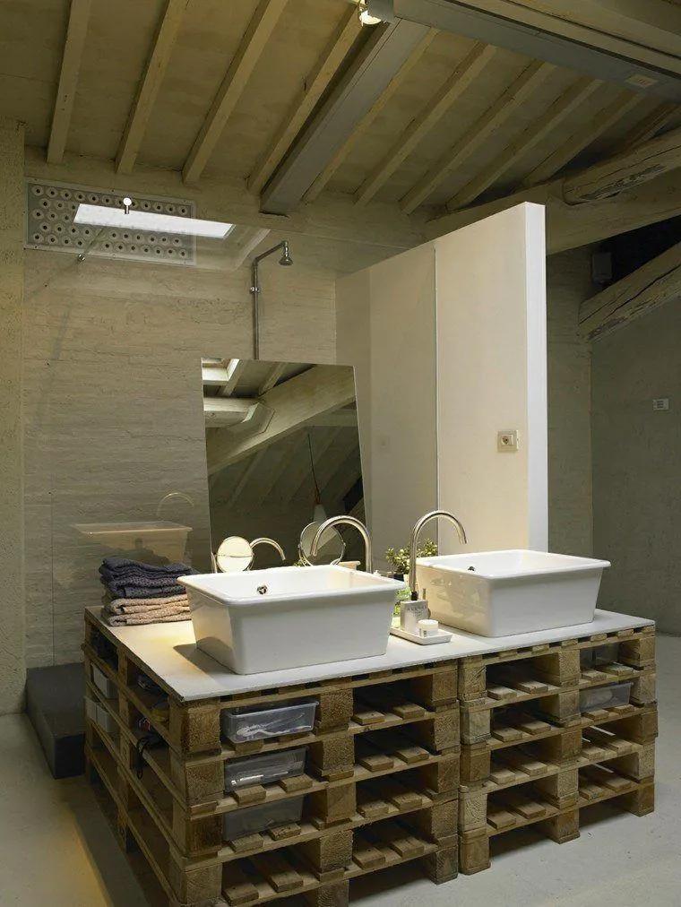 Mueble para el baño hecho con palets