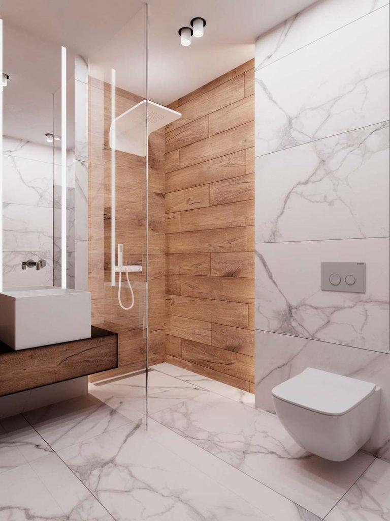 Baño revestido con mármol