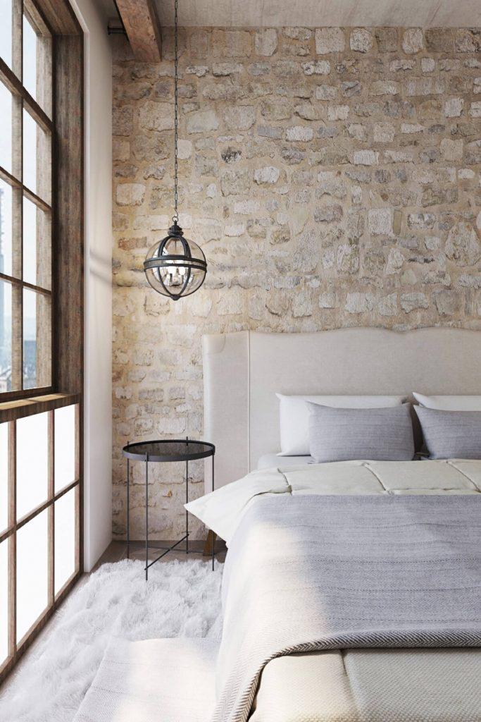 Pared dormitorio con piedra