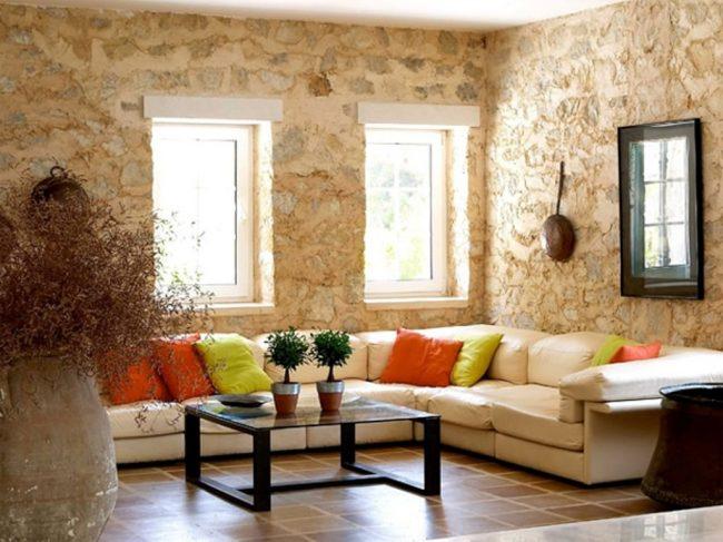 Salón decorado con piedras